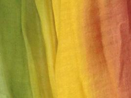 Wolle- Seidentuch gruen-gelb-orange